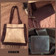 FINAL SALE PRICE! Vintage Coach Bag Cute canvas bag with leather trim, shoulder strap handle. Inside zip pocket, outside pocket as shown. This bag has no cell phone pockets, making it vintage but in super excellent condition. Coach Bags