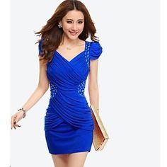 vrouwen+v+hals+geplooide+taille+bladerdeeg+mouw+mini+jurk+