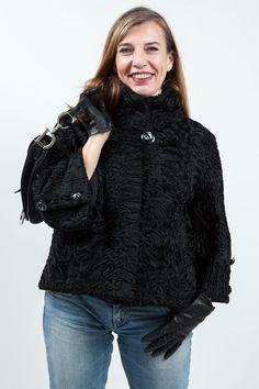 Veste en Astrakan Noir Kopenhagen Fur