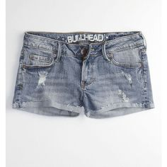 Bullhead Shorts - Womens - Bullhead Single Roll Light Blue Short ($9.99) ❤ liked on Polyvore featuring shorts, bottoms, pants, pacsun, women, slim shorts, cut off short shorts, torn shorts, distressed cut off shorts and slim fit shorts