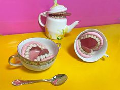 """""""Would you like a cup of teeth? Made of reimagined vintage tea cup, tea pot, & sugar bowl, polymer clay, resin teeth, acrylic paint, gloss varnish, & removable, posable squishy tongues. This tea party bites! Available in three toothy grins: Toothed Pot 5.25\"""" h x 6.25\"""" w (handle to spout) Teethy cup 2.75\"""" h x 3.75\"""" w & 4.5\"""" w/handle Sugar Teeth 2\"""" h x 5.25\"""" w (handle to handle) If you need more ridiculousness in your life, we've got just the thing...! P.s. These items are no lo Clay Fairies, Vintage Tea, Clay Crafts, Tea Party, Teeth, Polymer Clay, Tea Cups, Recycling, Creepy Things"""