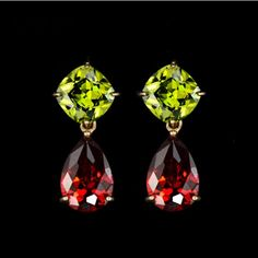 Mona Lisa 18k Gold Plated Olive Green and Red Drop Earring