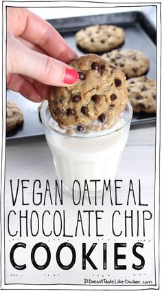 Vegan Oatmeal Chocolate Chip Cookies! Crispy on the outside, chewy in the middle. So easy to make with no weird ingredients. Dairy-Free and egg-free. #itdoesnttastelikechicken