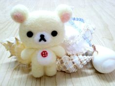 Rilakkuma Series Handmade White Little Rilakkuma Phone Charm - Chinese felt wool craft kit. $13.00, via Etsy.