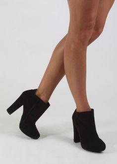 Chunky Heel Bootie #chunky #heel #bootie #black #suede #shoes #kieus