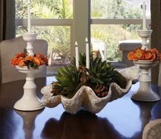 Succulent Bowls, Succulent Gardening, Dining Room Table Centerpieces, Table Decorations, Outside Planters, Giant Clam Shell, Large Glass Bowl, Shell Candles, Seashell Crafts