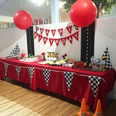 Cars Party Table decor - easily adapted to a Blaze theme with some flames!