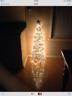 Rustic Christmas tree made from a tomato cage and twine