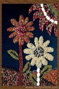 Seed Mosaic craft.  If you have faith as small as a mustard seed.  Object lesson, when you hold a seed in your hand you can not see the plant it will grow into but you have faith that it will grow when you plant it in the ground.