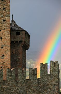 Rainbow, Fenis Castle, Aosta Valley, Italy (© Davide Carlo Cenadelli/SIME/4Corners Images)