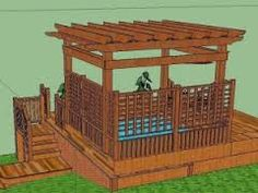 A Design for a Pergola over a Hot Tub Deck-another project my husband go to do this summer Diy Pergola, Wood Pergola Kits, Pergola Curtains, Deck With Pergola, Pergola Shade, Pergola Ideas, Backyard Ideas, Small Pergola, Patio Ideas