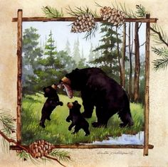 """It's LUNCH TIME in this Anita Phillips print as the mother bear and her cubs share the catch of the day. A Northwoods look makes it great for cabin or lodge wall decor. Unframed image Size 12"""" x 12"""""""