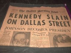 Vintage Dallas Morning News John Kennedy Slain in Dallas  + Runy Carousel Club