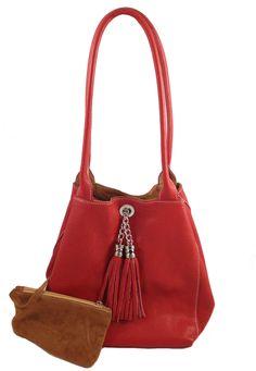 Lyn, Reversible Italian leather handbag. Red leather/cognac suede