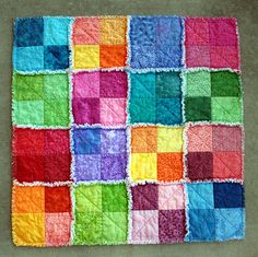 Summersplash Rag Quilt | A rainbow palette of cotton on the … | Flickr