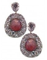 NEW 14K White Gold and Oxidized Silver Tourmaline and Diamond Asymetric Drop Pierced Earrings