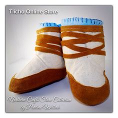 #Baby #Moccasin #Mukluks made Pauline Williah from the Northern Crafts Store Collection. #Tlicho http://onlinestore.tlicho.ca/products/baby-moccasin-mukluks