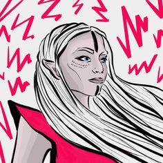 #abstractart #digitalart #illustration #comicart #woman #color #comic #elb # #body #stroke #portrait #rose #outline #lightning