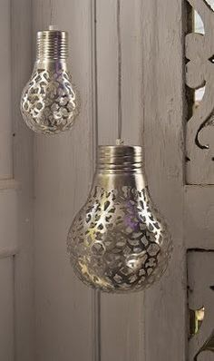 Get a lace doily and spray paint the pattern onto a light bulb. When the light is on, the pattern will shine through on your walls