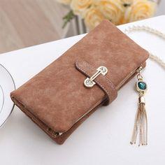 Women's purse 7 Colors Soft Matte Suede zipper tassel pendant women's wallet lady coin purse credit Card Holder