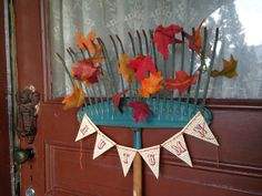 Pollyanna Reinvents: Old Rake Door Decor for Fall