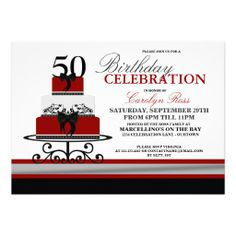 Red Flourish Cake Custom Birthday Invitations