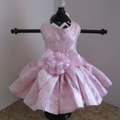 pink with silver roses dog dress