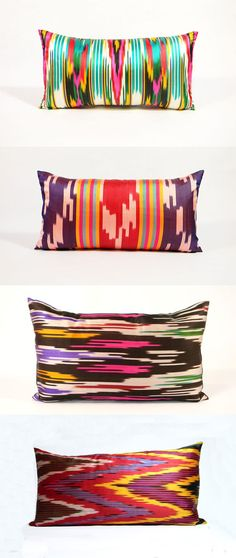 Ikkat pillows from Material Recovery - I have some ikat silk and should do this with it :)