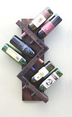 Mur bois ♥ Wine Rack - rangement porte bouteille 6 affiche chêne doré  Notre Amalfi 6 bouteille casier à vin (Type Z) est fabriqué à partir