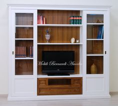 Wall unit with shaped frame, solid wood. Libreria porta Tv con ...
