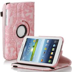 Rotating-Embossed-Flower-PU-Leather-Case-For-Samsung-Galaxy-Tab-3-7-0-P3200-Pink