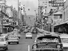 Hindley St Adelaide South Australia in Hmmm not sure what that white car in the middle is doing either. Places To Travel, Places To Visit, Adelaide Street, Adelaide South Australia, The Old Days, Black And White Pictures, Historical Photos, Old Photos, Street View