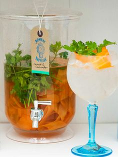 Ingredients: Bombay Sapphire gin 2 carrots Fresh coriander Fever-Tree tonic water Lime  To Infuse the Bombay Sapphire:  Take 10 full length potato peels of carrot a handful of fresh coriander leaf and post them all into the bottle. Shake well and leave to infuse.  Method:  Pour 50ml of your carrot & coriander leaf infusion and top with 100ml of chilled Fever-Tree tonic water. Garnish with a long carrot peel around the inside of the glass, some grated lime zest and a small bunch of coriander…