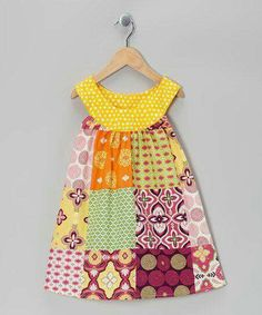 Take a look at this Pink & Yellow Patchwork Yoke Dress - Toddler & Girls… Toddler Girl Dresses, Toddler Outfits, Kids Outfits, Toddler Girls, Sewing For Kids, Baby Sewing, Girl Dress Patterns, Sewing Patterns, Little Girl Dresses