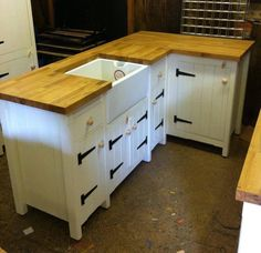 Solid Pine Freestanding Country Kitchen Belfast Butler Sink Unit Oak Top  Rustic