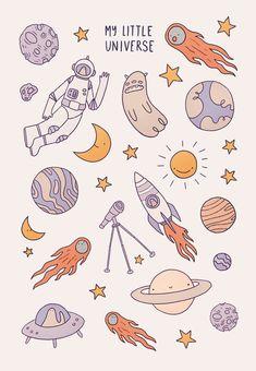 My little Universe by illustrator Emma Martschinke - Kawaii Stickers, Cute Stickers, Kawaii Drawings, Cute Drawings, Tumblr Sticker, Korean Stickers, Arte Sketchbook, Cute Doodles, Journal Stickers