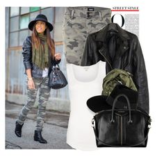 """""""Camouflage Affair."""" by prettyorchid22 ❤ liked on Polyvore featuring Hudson Jeans, Witchery, Maison Michel and Givenchy"""