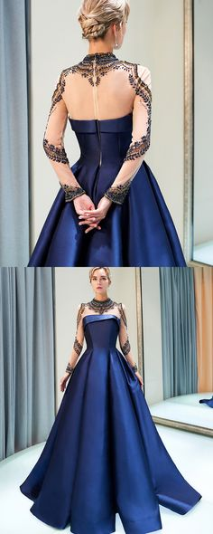 d71e71dc02 Gorgeous High Neck Beading Royal Blue Pleated Satin Evening Gown with Long  Sleeves QD005