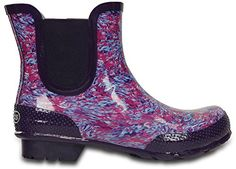 crocs Womens Watercolor Chelsea Boot Rain Boot Cerulean Blue 6 US6 M US M US -- More info could be found at the image url.