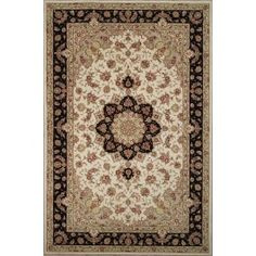 Handmade Rectangular Persian Tabriz Area Rug in Ivory with Black Accents, 3x5…