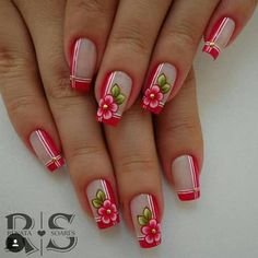 78 nail models decorated to inspire you in your manicure Spring Nails, Summer Nails, Finger, Acryl Nails, Boxing Day, Flower Nails, French Nails, Nail Arts, Manicure And Pedicure