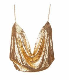 Sexy Gold Mesh Top with Gold Chains that crossover the back. Backless Top Open Back Deep Plunge Bling Gold Club Party Top One Piece neck Chain Waist Chain Gold Sequin Top, Sequin Crop Top, Cami Crop Top, Crop Tops, Gold Top, Crop Shirt, Tank Tops, Noodz Boutique, Feminine Fashion