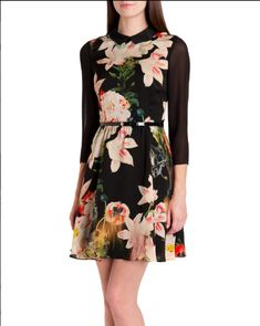 d15cb70a5ff9d TED BAKER Ise Opulent Bloom Dress 1 US 0 2 4 XS S UK 6 8