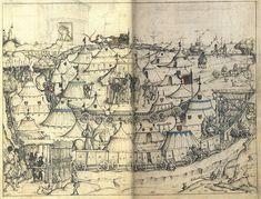 Hausbuch Wolfegg 53r 53r1 Heerlager - Hausbuch (Schloss Wolfegg) – Wikipedia