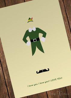 Buddy the Elf Minimalist Folded Card 4x6 20 pack by BonniMaceDesigns