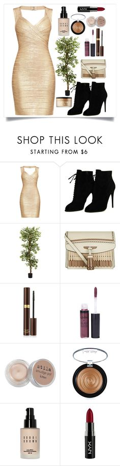 """""""Golden"""" by heythatsalya ❤ liked on Polyvore featuring Hervé Léger, Tom Ford, Nearly Natural, Burberry, NYX, Stila, Laura Geller, Bobbi Brown Cosmetics and Too Faced Cosmetics"""