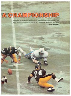 """1979 Article """"Pouncing on a Championship. The """"Soup Bowl"""" aka the AFC Championship vs Oilers. Franco Harris and Ray Pinney scramble for an Oiler fumble. Steeles won and advance to win SBXIII against Cowboys. Pitsburgh Steelers, Pittsburgh Steelers Players, Pittsburgh Sports, Pittsburgh Pirates, Three Rivers Stadium, Afc Championship, Houston Oilers, Vintage Football, Sports"""