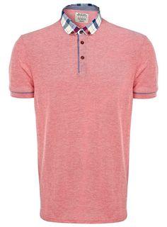 Red Check Collar Polo Shirt
