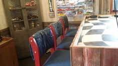 s 19 gorgeous reasons to dig your old jeans out of the closet, crafts, repurposing upcycling, Reupholster worn bar stools Grey Bar Stools, Counter Stools, Folding Jeans, Patriotic Bunting, Denim Scraps, Painted Drawers, Out Of The Closet, Jeans Material, Old Jeans