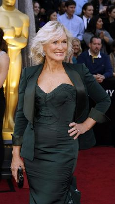 Glen close  looked very sexy and sophisticated in her figure hugging Zac posen outfit .
